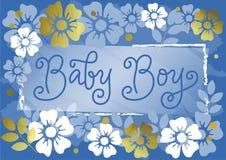 Lettrage moderne de calligraphie de bébé garçon dans le bleu sur le fond bleu décoratif avec les fleurs d'or et blanches illustration de vecteur