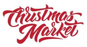 Lettrage moderne de main du marché de Noël Fond d'isolement illustration libre de droits