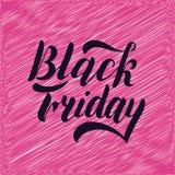 Lettrage noir de main de vendredi, d'isolement sur le fond rose Type conception de vintage de vente illustration de vecteur