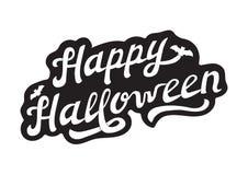 Lettrage tiré par la main blanc Halloween heureux Photos stock