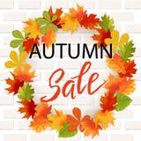 Lettrage tiré par la main d'automne Autumn Leaves Background Photographie stock