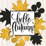 Lettrage tiré par la main d'automne Autumn Leaves Background Images stock