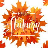 Lettrage tiré par la main d'automne Autumn Leaves Background Images libres de droits