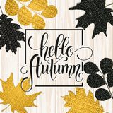 Lettrage tiré par la main d'automne Autumn Leaves Background illustration libre de droits