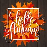 Lettrage tiré par la main d'automne Autumn Leaves Background illustration stock