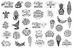 Lettrage tiré par la main de déplacement d'été, inscriptions de typographie Photos libres de droits