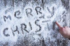 Lettrage tiré par la main de Joyeux Noël Image stock