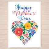 Lettrage tiré par la main heureux du jour de mère Fond typographique heureux de jour de mères avec des fleurs de ressort illustration stock