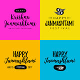 Lettrage tiré par la main moderne Janmashtami heureux Festival indien Krishna Calligraphie pour la carte de voeux ou la bannière Photographie stock libre de droits