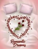 Lettrage vertical de bannière, écrit des rêves romantiques illustration de vecteur