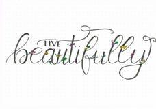 Lettrage vivant de main de ` de ` admirablement avec les fleurs flourishing et colorées illustration libre de droits