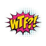 Lettrage WTF Expression comique de la parole de bruit des textes Photos stock