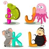 LETTRE animale d'alphabet d'illustrateur - I, j, k, l Photographie stock