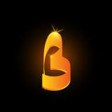 Lettre arabe d'or b de style Icône brillante d'élément d'alphabet latin sur le fond noir Conception orientale de calligraphie ard illustration libre de droits
