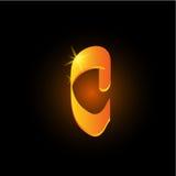 Lettre arabe d'or c de style Icône brillante d'élément d'alphabet latin sur le fond noir Conception orientale de calligraphie ard illustration libre de droits