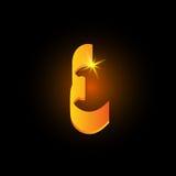 Lettre arabe d'or e de style Icône brillante d'élément d'alphabet latin sur le fond noir Conception orientale de calligraphie ard illustration stock