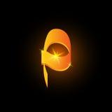 Lettre arabe d'or p de style Icône brillante d'élément d'alphabet latin sur le fond noir Conception orientale de calligraphie ard illustration de vecteur
