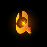 Lettre arabe d'or q de style Icône brillante d'élément d'alphabet latin sur le fond noir Conception orientale de calligraphie ard illustration libre de droits