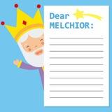 Lettre au Roi Melchior illustration stock