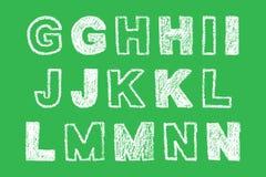 Lettre audacieuse blanche manuscrite de craie sur le fond vert Image libre de droits