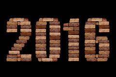 lettre 2016 avec la pierre de brique Images stock