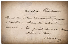 Lettre avec le texte manuscrit carton grunge de vintage Images stock