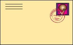 Lettre avec le timbre Image stock