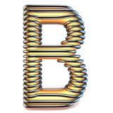 Lettre B de jaune orange dans la cage 3D en métal Photos libres de droits