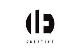 Lettre blanche Logo Design de LE L E avec le fond de cercle Image stock