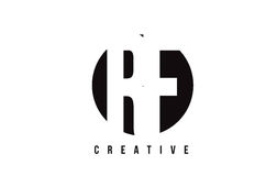 Lettre blanche Logo Design de rf R F avec le fond de cercle Images libres de droits