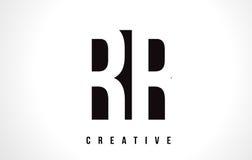 Lettre blanche Logo Design de rr R avec la place noire Image libre de droits