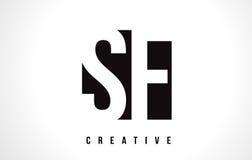 Lettre blanche Logo Design de SF S F avec la place noire illustration libre de droits