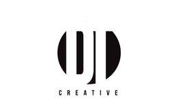 Lettre blanche Logo Design du décollement D T avec le fond de cercle Photo libre de droits