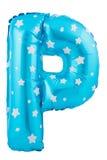Lettre bleue P de couleur faite de ballon gonflable Image stock