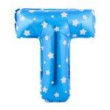 Lettre bleue T de couleur faite de ballon gonflable Images libres de droits