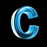 Lettre C en glace bleue 3D Images stock