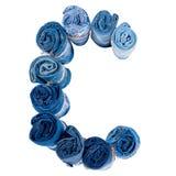 Lettre C faite de petit pain de jeans Images libres de droits