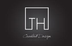 Lettre carrée Logo Design de cadre de TH avec des couleurs noires et blanches Photo stock