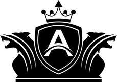 Lettre courante A de logo avec la protection jumelle de roi de loup Photographie stock
