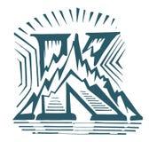 Lettre créative et simple K avec l'illustration de vecteur de logo de montagne sur le fond de petit morceau illustration libre de droits