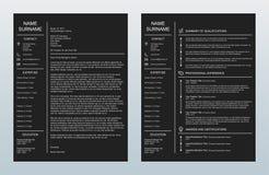Lettre d'accompagnement créative minimaliste de vecteur et un calibre de la page Resume/CV sur le fond de charbon de bois illustration de vecteur