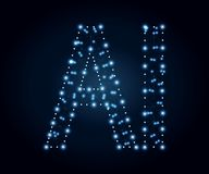 Lettre d'AI, polygone, bleu 4 photos stock