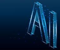 Lettre d'AI, polygone, 4 isométriques et bleus image stock