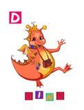 Lettre D Alphabet anglais de bande dessinée mignonne avec l'image et le mot colorés Illustration de Vecteur