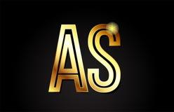 lettre d'alphabet d'or comme conception d'icône de combinaison de logo de s Image stock