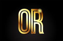 lettre d'alphabet d'or ou conception d'icône de combinaison de logo d'o r Photographie stock libre de droits