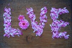 lettre d'amour abstraite de fleur sur la texture en bois Photographie stock