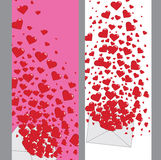 Lettre d'amour avec la bannière des coeurs Valentines.Vertical Images libres de droits
