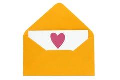 Lettre d'amour avec le coeur de papier Photo stock