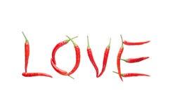 Lettre d'amour d'isolat de piment rouge Image libre de droits